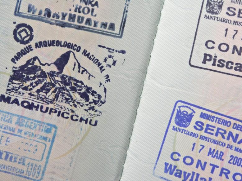 Carimbo de Machu Picchu no passaporte